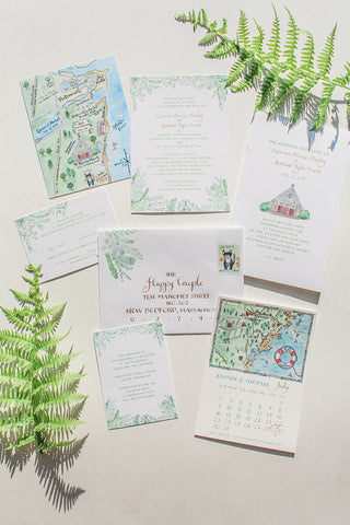 Invitation suite with ferns