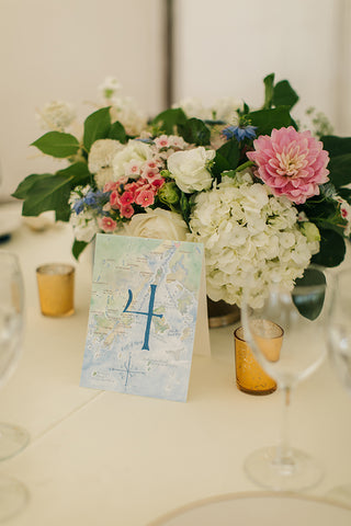 watercolor wedding table number