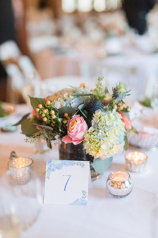 hydrangea wedding table number