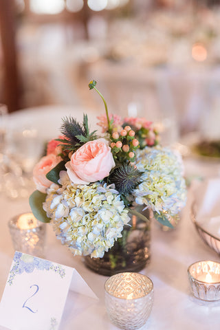 reception hall table number with hydrangeas