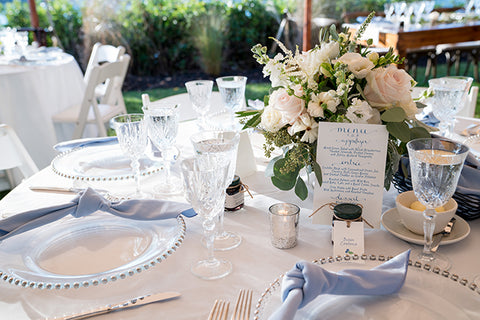 Wedding day table with menu