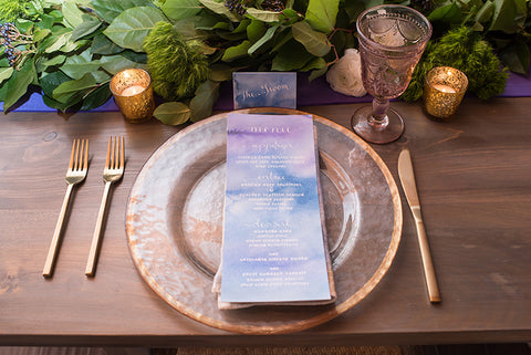 place setting with menu