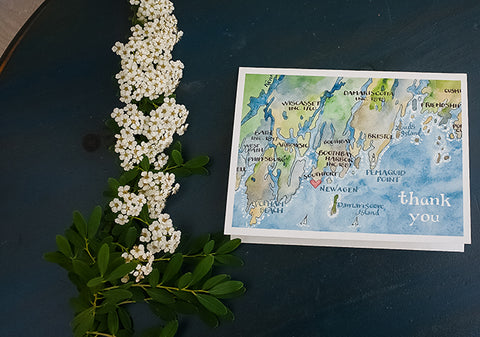 Mid coast Maine map thank you note