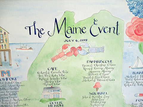 Seating chart hand painted Maine