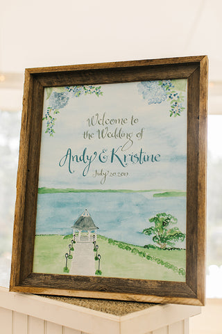 watercolor wedding welcome sign