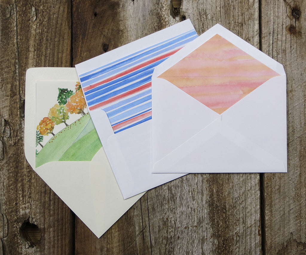 Custom watercolor Wedding Invitation envelope liners, El's Cards