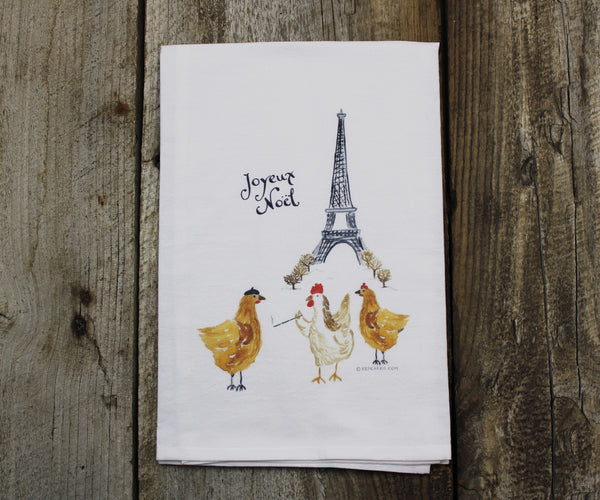 3 French Hens Tea Towel