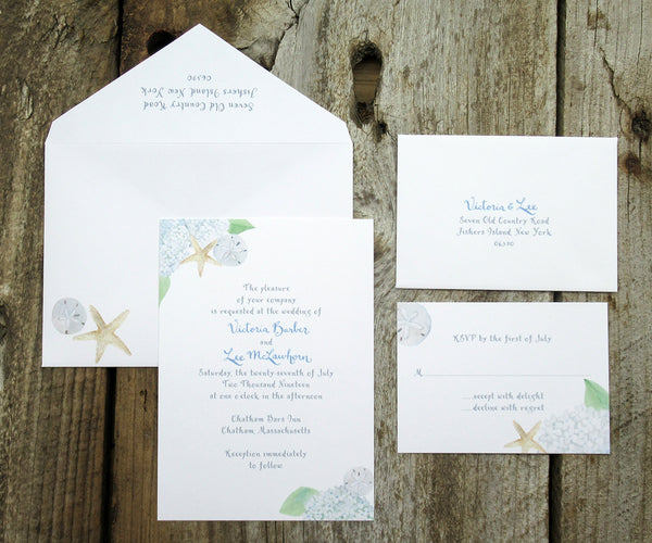 Beach Hydrangea Wedding Invitation