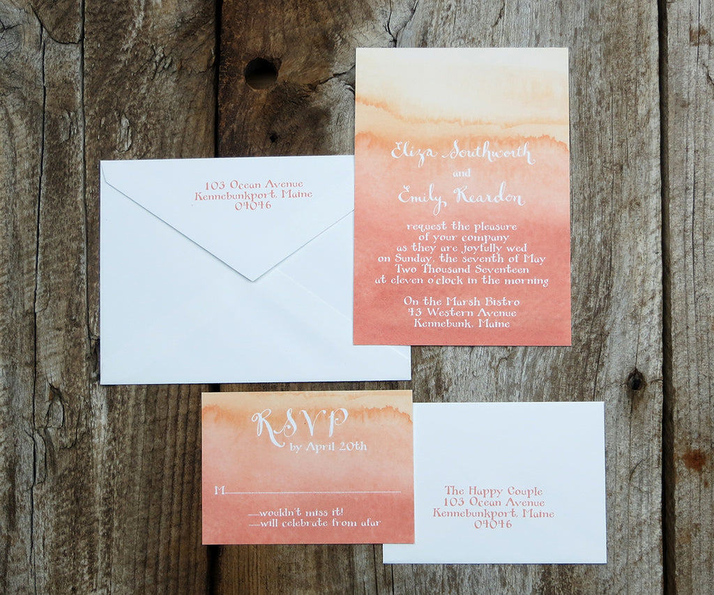 Coral Ombre Wedding Invitation