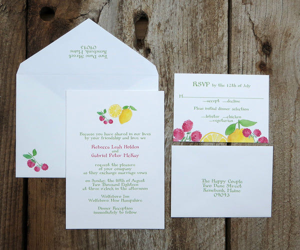 Lemon Raspberry Wedding Invitation