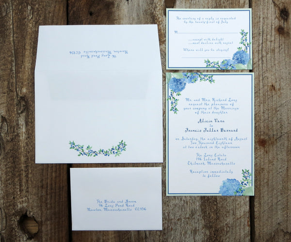 Martha's Vineyard Hydrangea Wedding Invitation