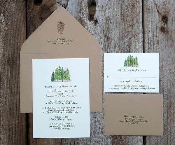 Forest Pines Wedding Invitation