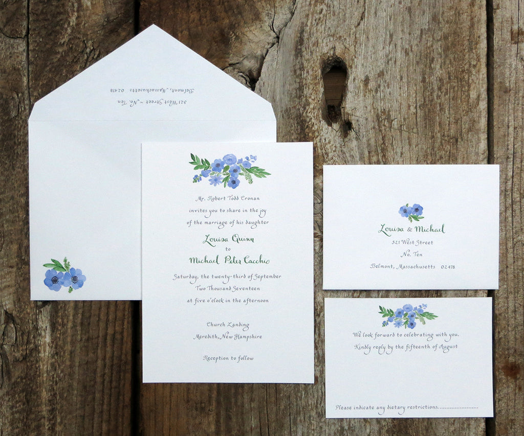Periwinkle Bouquet Wedding Invitation