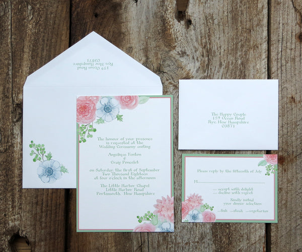 Blushing Anemone Wedding Invitation