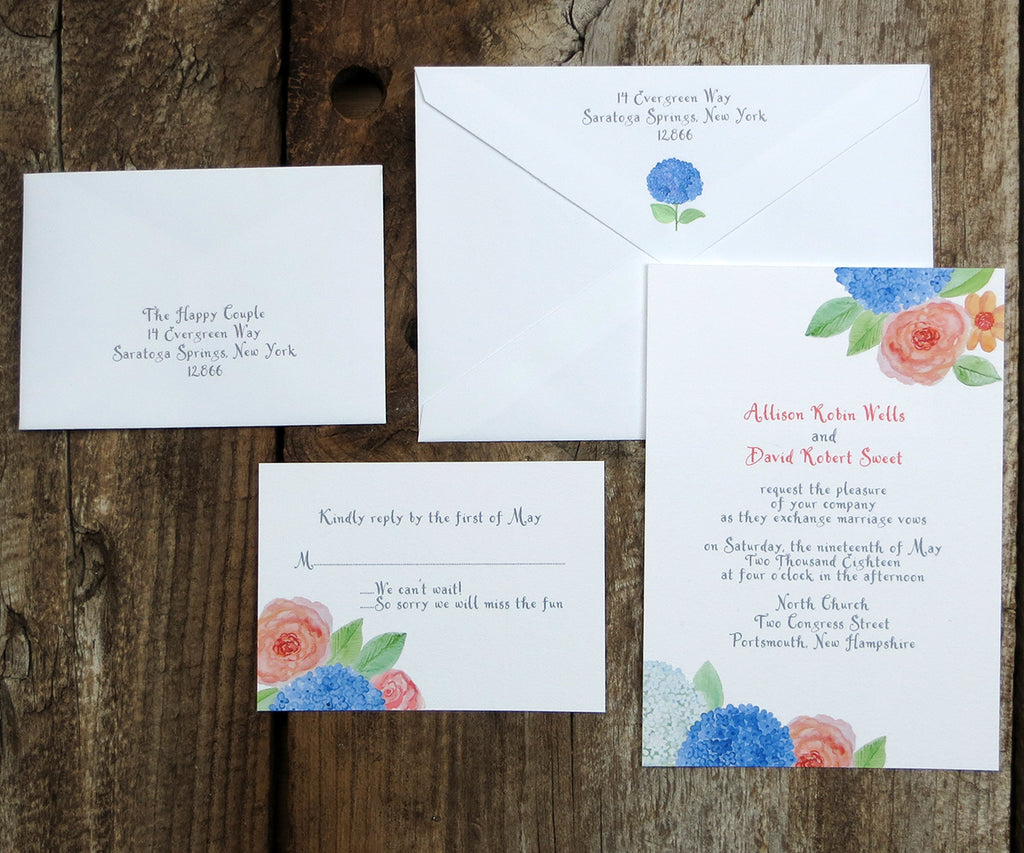 Hydrangeas and Roses Wedding Invitation