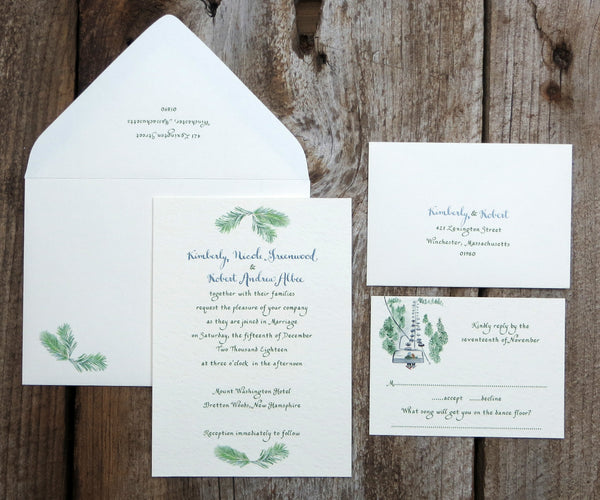 Ski Mountain Wedding Invitation