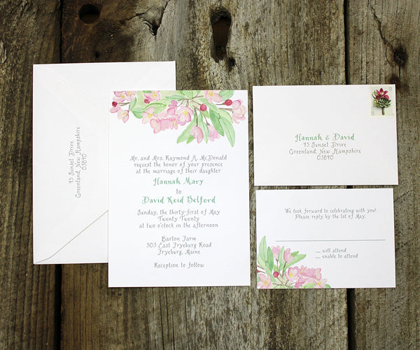 Apple Blossom Wedding Invitation