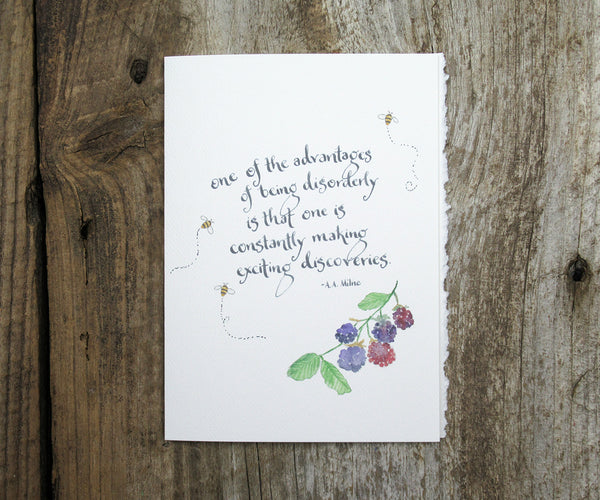 Blackberry Bee Quote Card