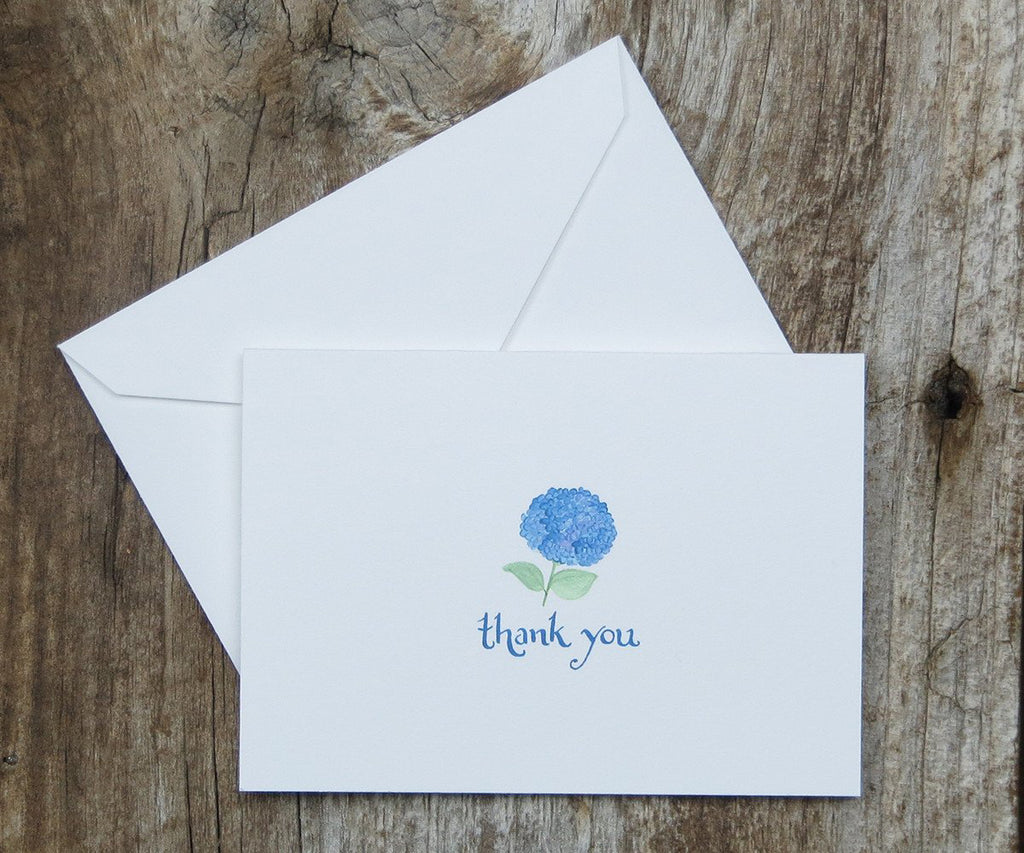 Blue hydrangea thank you note