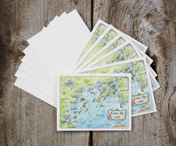 Map Note Cards of Casco Bay, Maine