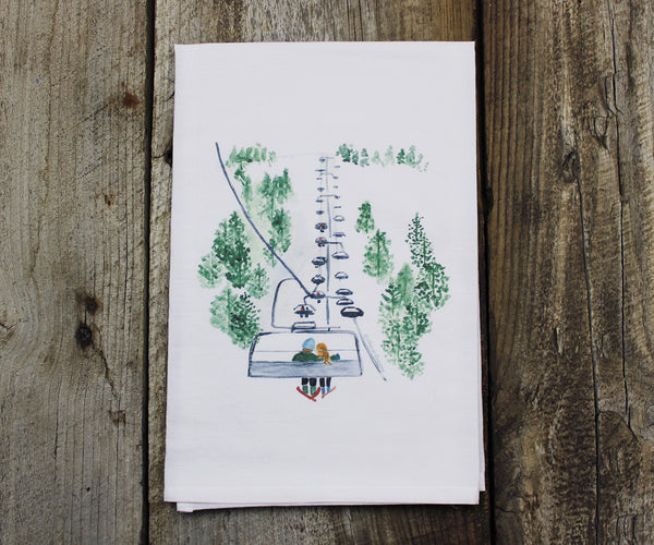Chairlift Skiers Tea Towel