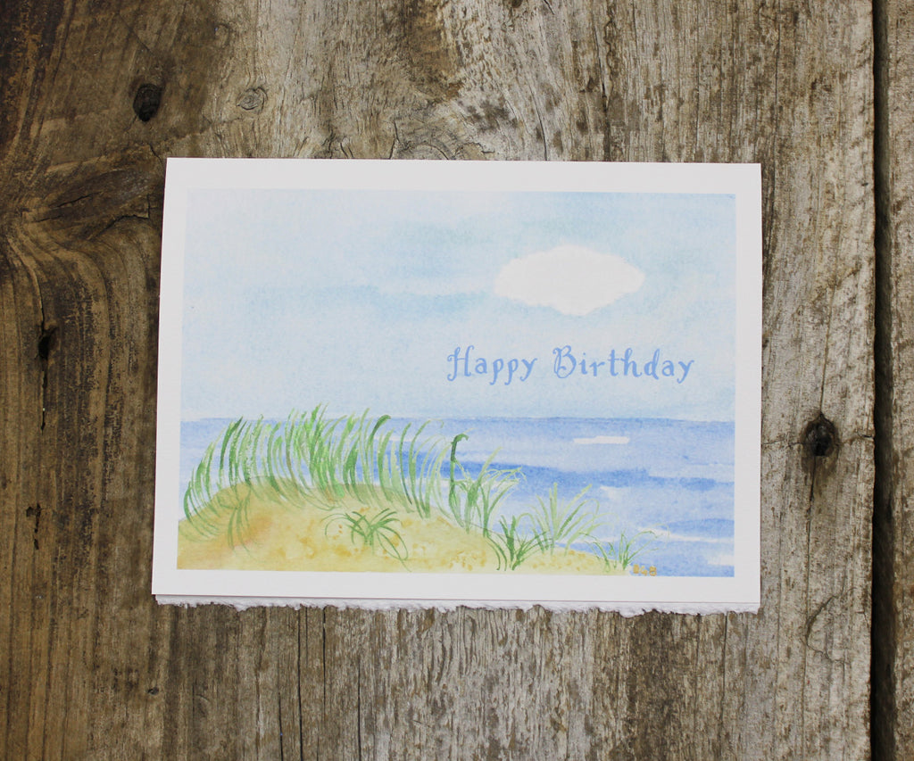 Beach dunes birthday card