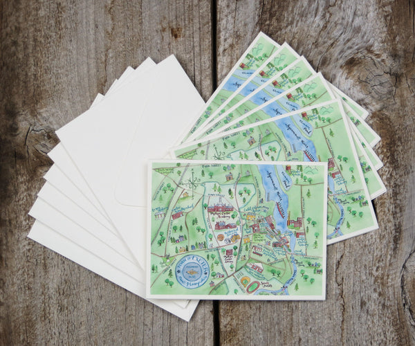 Map Note Cards of Exeter, NH