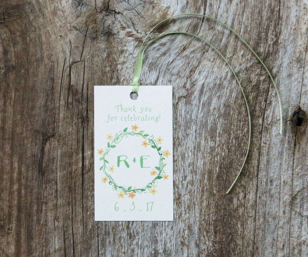 Floral Ring Monogram Favor Tags