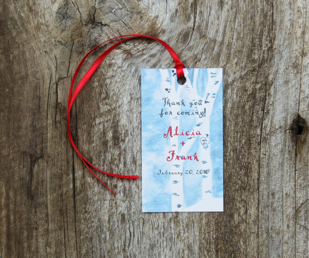 Winter Birches Favor Tags