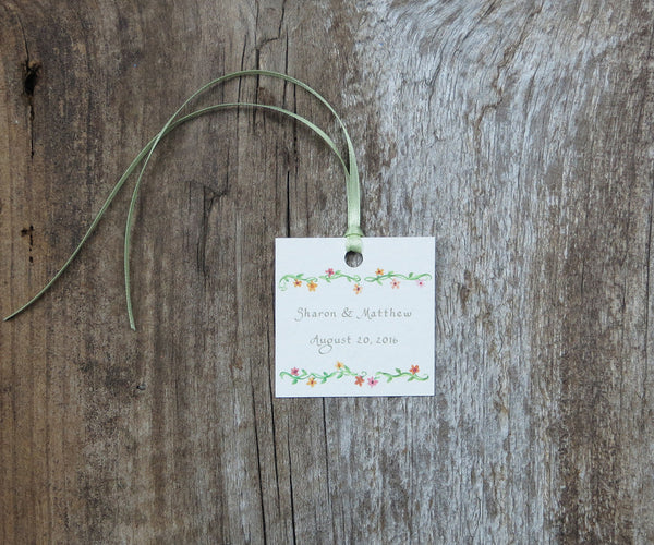 Floral Border Favor Tags