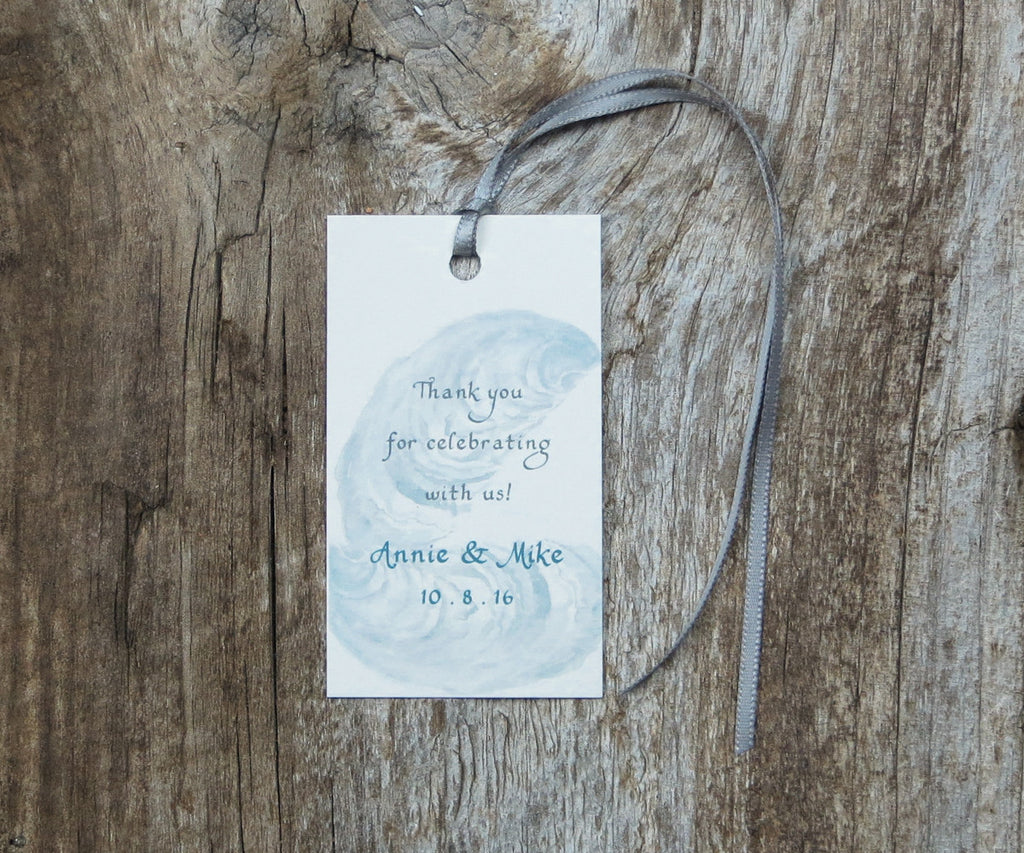 Oyster with Sand Border Favor Tags