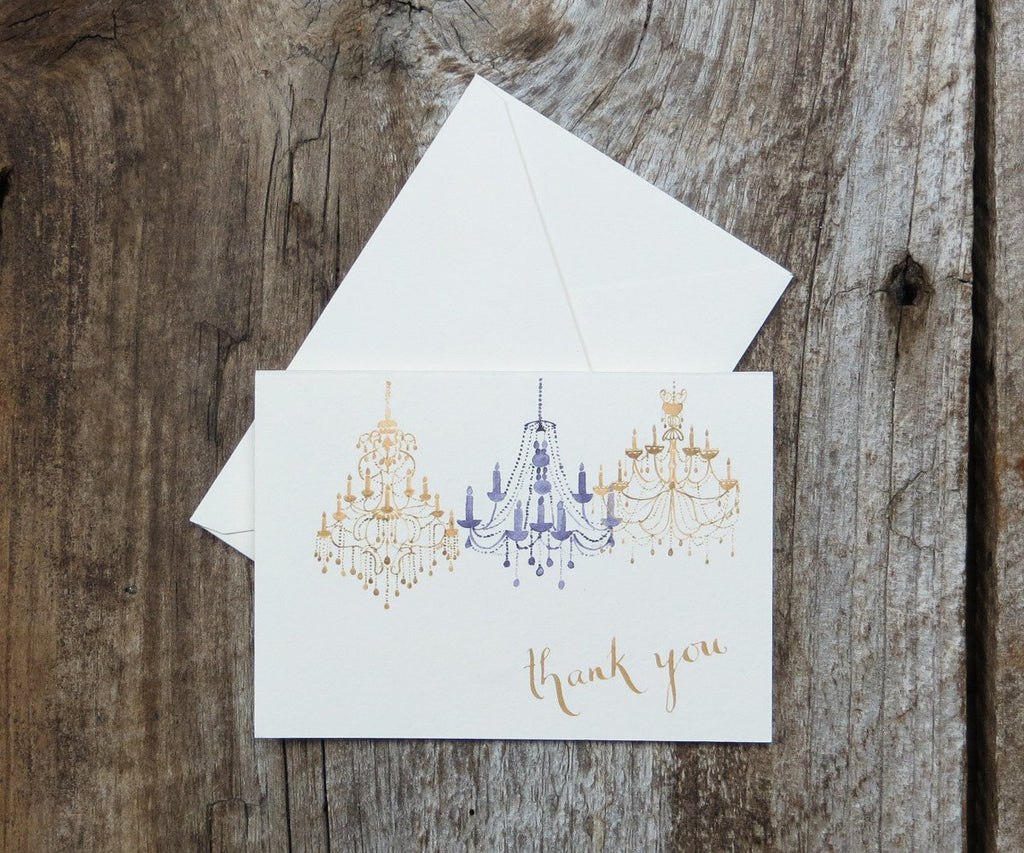 Gold chandelier thank you note
