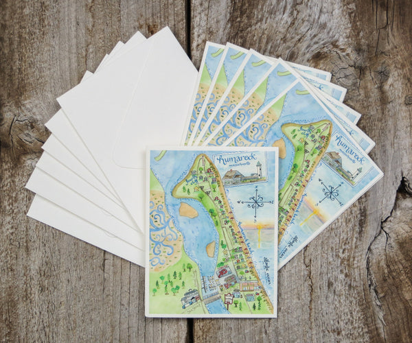 Map Note Cards of Humarock, MA