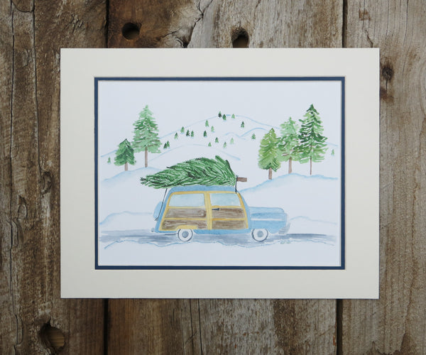 Woody Wagon Christmas Print