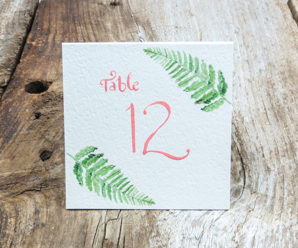 Woodland Fern Table Signs