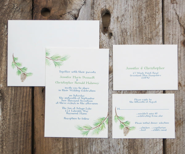 Pine Bough Wedding Invitation