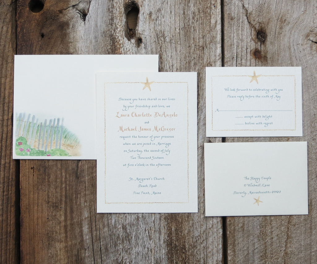 Starfish in the Sand Wedding Invitation Els Cards