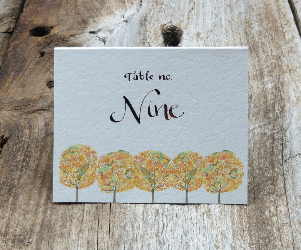 Yellow Autumn Trees Table Signs