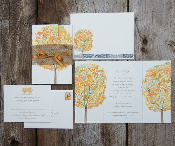 Yellow Autumn Trees Wedding Invitation