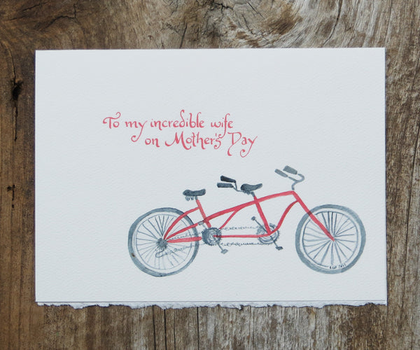 Tandem bike Mother's Day Card