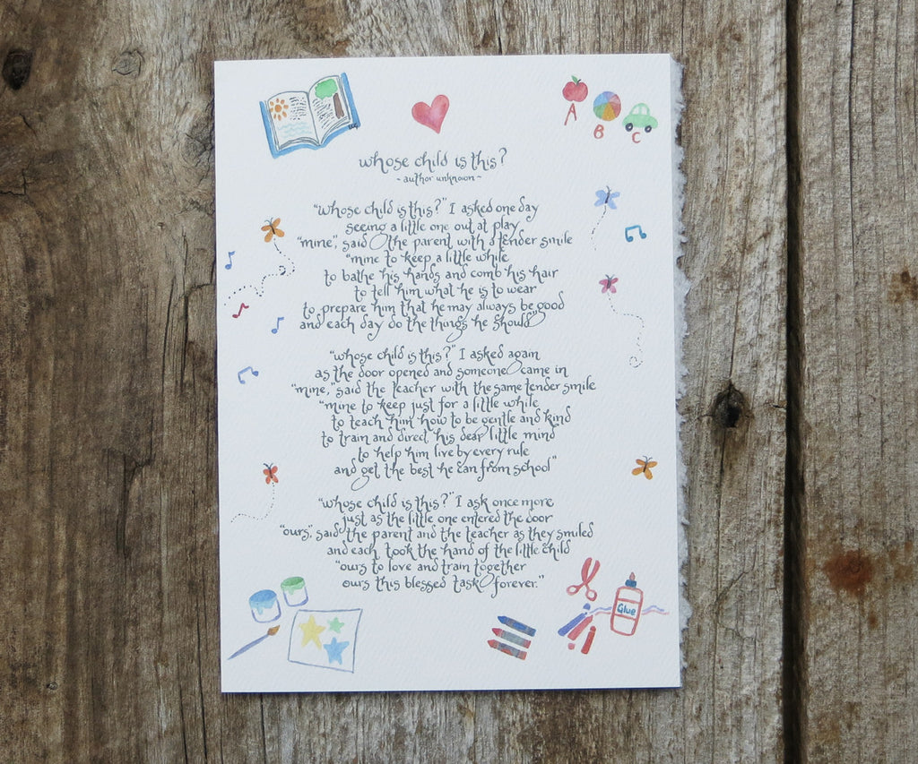 Teacher Poem Card