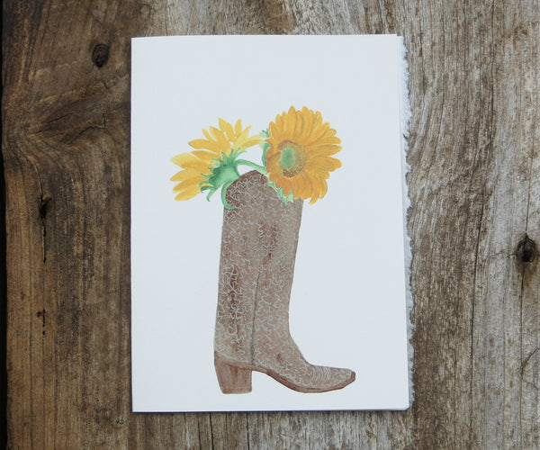 Boot with Sunflowers Card