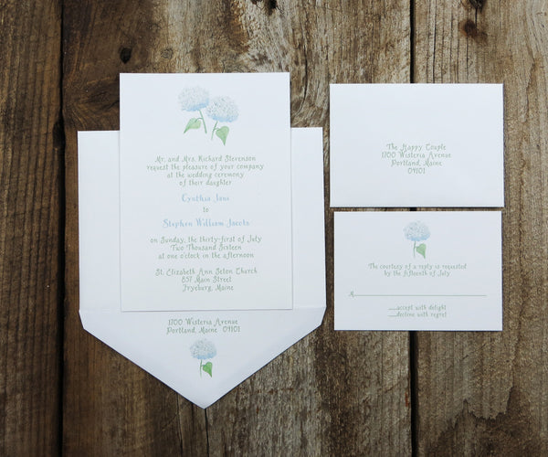 White Hydrangea Wedding Invitation