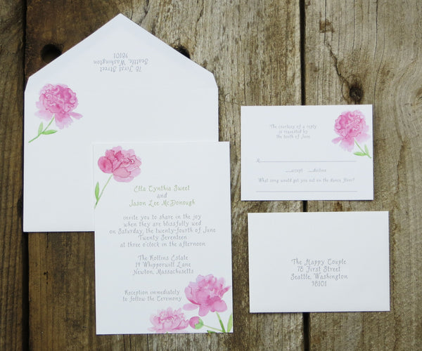 Pink Peonies Wedding Invitation