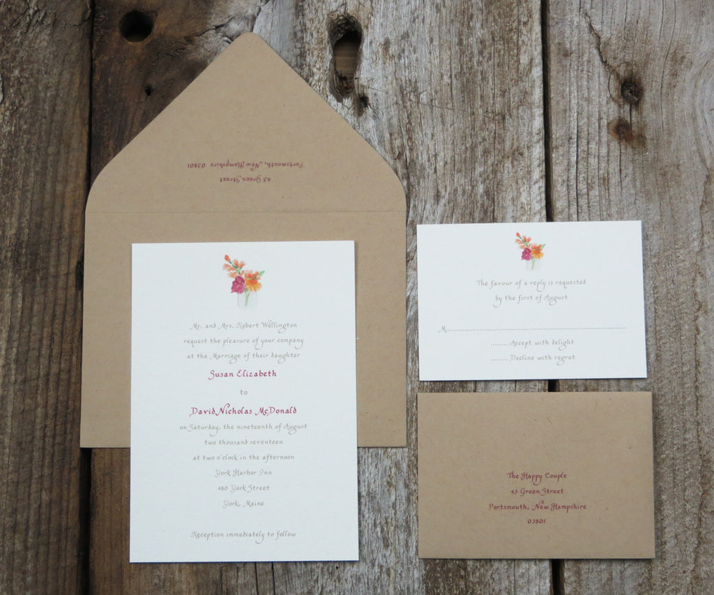 Pink Peonie Wedding Invitation