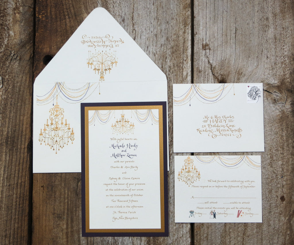 Chandelier Wedding Invitations: Gold Chandelier Wedding Invitation