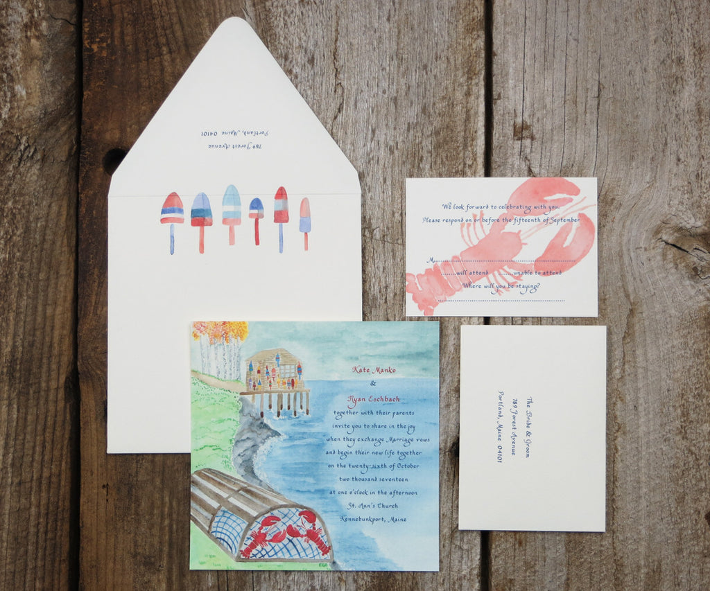 Lobster Hut Wedding Invitation