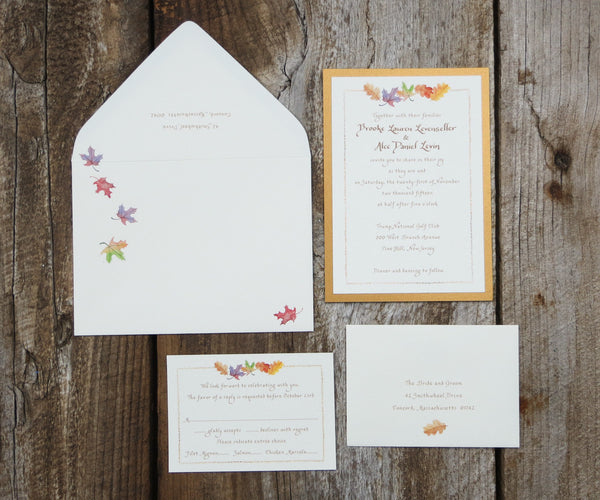 October Leaves Wedding Invitation
