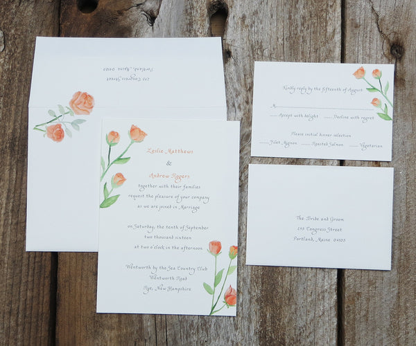 Orange Roses Wedding Invitation