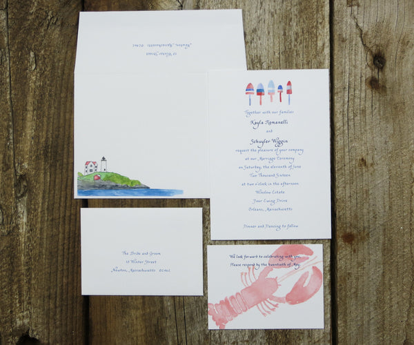 Lobster Buoys Wedding Invitation